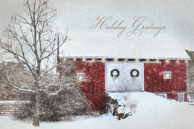 Barn Digital Art - Holiday Greetings by Lori Deiter