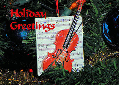 Photograph - Holiday Greetings With Violin by Rosalie Scanlon