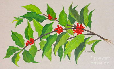 Painting - Holiday Holly by Frances  Dillon