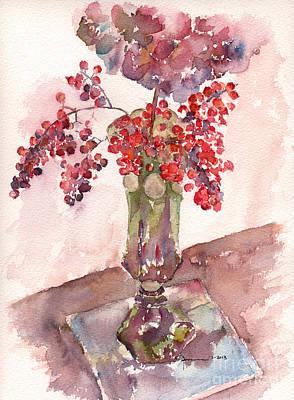Hydrangea Watercolor Painting - Holiday Hydrangea by Claudia Hafner