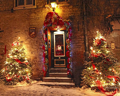 Winter Light Mixed Media - Holiday In Quebec City - Rue Du Petit Chaplain Lights by Alex Khomoutov