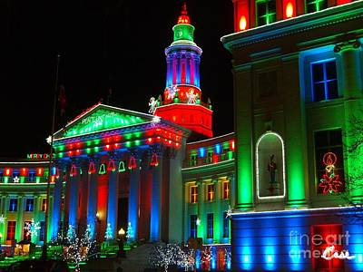During Christmas Time Photograph - Holiday Lights 2012 Denver City And County Building A2 by Feile Case