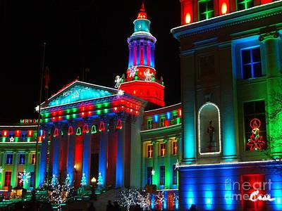 During Christmas Time Photograph - Holiday Lights 2012 Denver City And County Building A3 by Feile Case