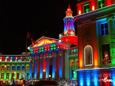During Christmas Time Photograph - Holiday Lights 2012 Denver City And County Building B1 by Feile Case