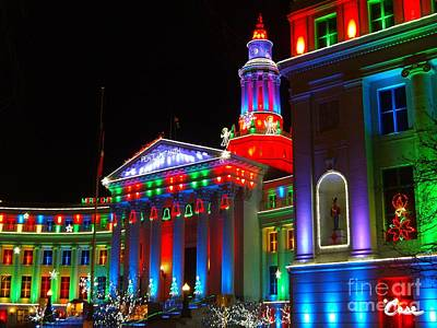During Christmas Time Photograph - Holiday Lights 2012 Denver City And County Building B3 by Feile Case