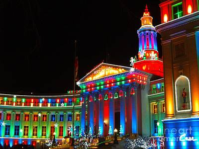 During Christmas Time Photograph - Holiday Lights 2012 Denver City And County Building C3 by Feile Case