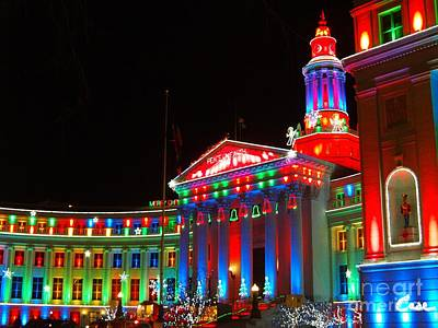 During Christmas Time Photograph - Holiday Lights 2012 Denver City And County Building C4 by Feile Case