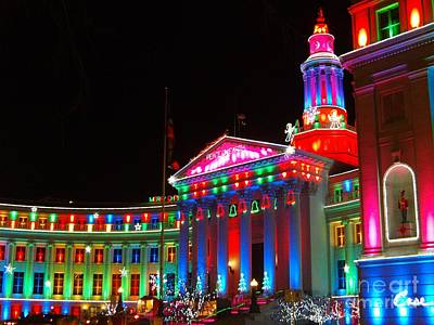During Christmas Time Photograph - Holiday Lights 2012 Denver City And County Building C6 by Feile Case