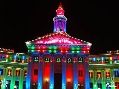 During Christmas Time Photograph - Holiday Lights 2012 Denver City And County Building  D1 by Feile Case