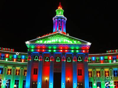 During Christmas Time Photograph - Holiday Lights 2012 Denver City And County Building D2 by Feile Case