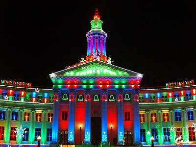 During Christmas Time Photograph - Holiday Lights 2012 Denver City And County Building G1 by Feile Case