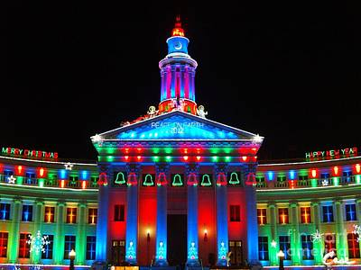 During Christmas Time Photograph - Holiday Lights 2012 Denver City And County Building G2 by Feile Case