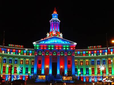 During Christmas Time Photograph - Holiday Lights 2012 Denver City And County Building G8 by Feile Case