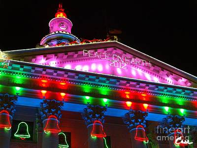 During Christmas Time Photograph - Holiday Lights 2012 Denver City And County Building L1 101 by Feile Case