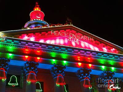 Thousands Of Colorful Lights Pyrography - Holiday Lights 2012 Denver City And County Building L1 by Feile Case
