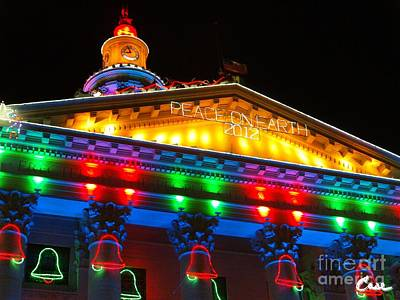 During Christmas Time Photograph - Holiday Lights 2012 Denver City And County Building L2 102 by Feile Case