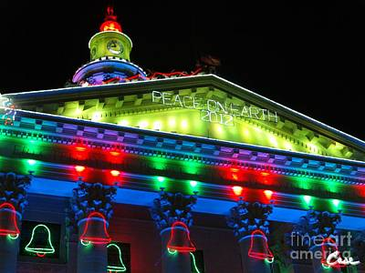 During Christmas Time Photograph - Holiday Lights 2012 Denver City And County Building L2 by Feile Case