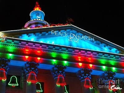 During Christmas Time Photograph - Holiday Lights 2012 Denver City And County Building L3 by Feile Case