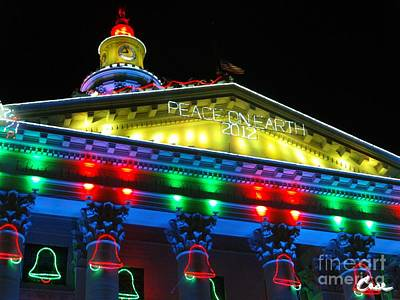 During Christmas Time Photograph - Holiday Lights 2012 Denver City And County Building L5 by Feile Case