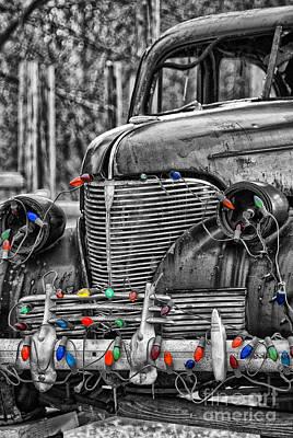 Holiday Lights On Old Truck Art Print by Birgit Tyrrell