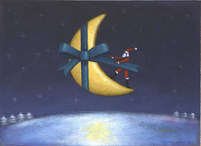 Santa Claus Painting - Holiday Moon by Steve Dininno
