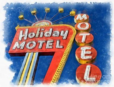 Photograph - Holiday Motel Classic Neon  by Edward Fielding