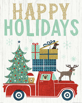 Happy Holidays Painting - Holiday On Wheels IIi V2 by Michael Mullan
