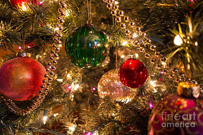 Holiday Ornaments On A Christmas Tree Art Print
