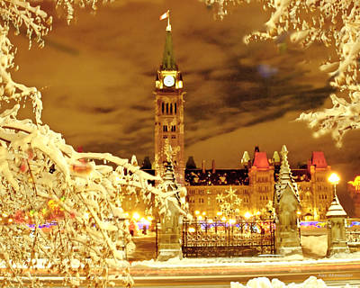Winter Light Mixed Media - Holiday Ottawa - Parliament And Peace Tower Night Lights by Alex Khomoutov
