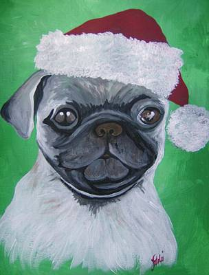 Art Print featuring the painting Holiday Pug by Leslie Manley