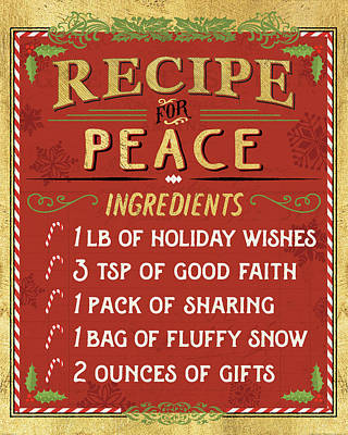 Holiday Recipe II Gold And Red Print by Pela Studio