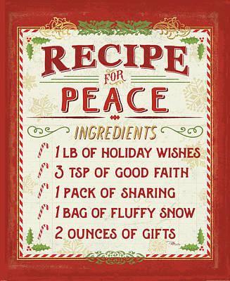 Recipe Painting - Holiday Recipe II by Pela Studio