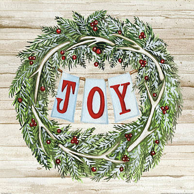 Wreath Painting - Holiday Sayings I On Wood by Kathleen Parr Mckenna