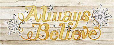 Believe Painting - Holiday Sayings Iv On Wood by Kathleen Parr Mckenna