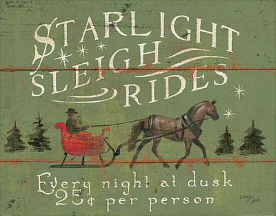 Sleigh Ride Painting - Holiday Signs II by Wellington Studio