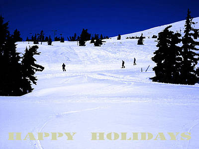 Digital Art - Holiday Skiers At Mt Hood  Oregon by Glenna McRae