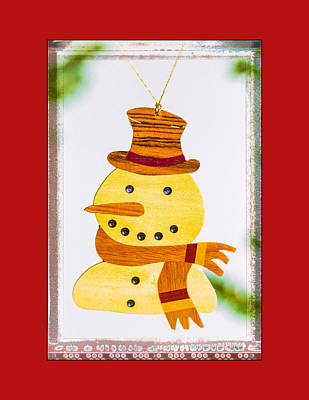 Photograph - Holiday Snowman Art Ornament In Red  by Jo Ann Tomaselli