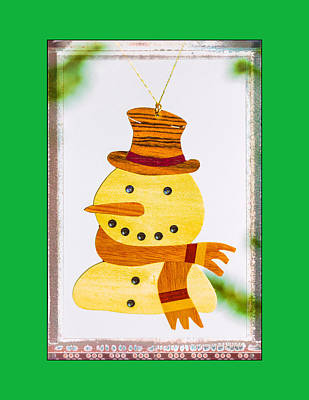 Photograph - Holiday Snowman Art Ornament With Green  by Jo Ann Tomaselli
