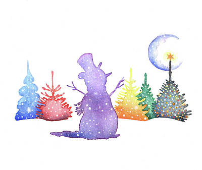 Winter Watercolor Painting - Holiday Snowman by P.s. Art Studios