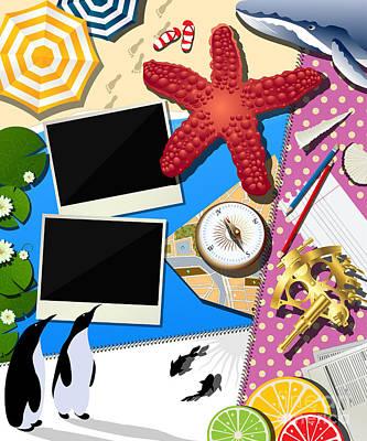 Koi Digital Art - Holiday Summer Collage by Richard Laschon