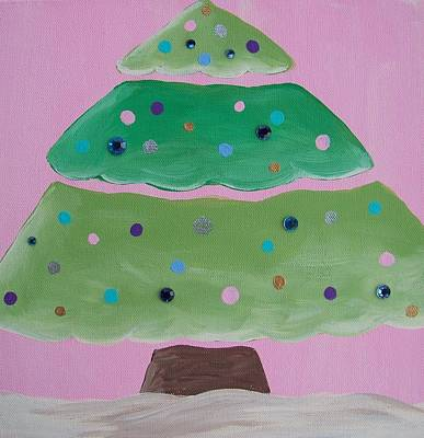 Holiday Tree With Pink Art Print by Tracie Davis