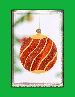 Photograph - Holiday Wave Pattern Art Ornament In Green by Jo Ann Tomaselli