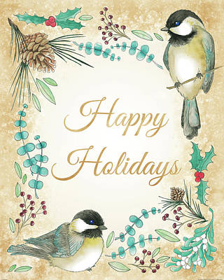 Chickadee Painting - Holiday Wishes II by Elyse Deneige