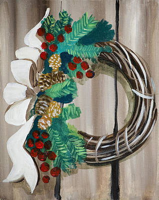 Painting - Holiday Wreath 2 by Richard Fritz