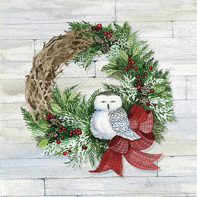 Wreath Painting - Holiday Wreath II On Wood by Kathleen Parr Mckenna