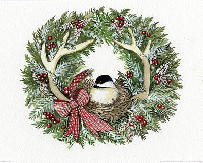 Holiday Wreath Iv Art Print by Kathleen Parr Mckenna