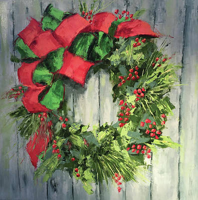 Christmas Wreath Painting - Holiday Wreath by Leslie Saeta