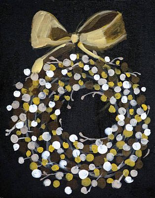 Painting - Holiday Wreath by Richard Fritz
