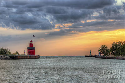 Holland Michigan Photograph - Holland Lighthouse At Sunset by Twenty Two North Photography