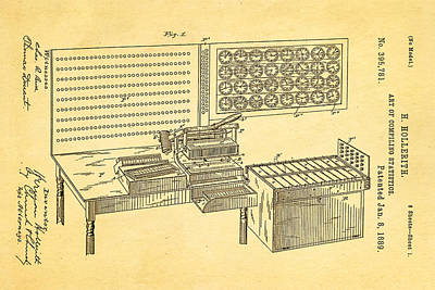 Hollerith Punched Card Patent Art 1889 Art Print by Ian Monk